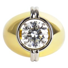 Harry Winston GIA Certified 3.01 Carat Brilliant Round Solitaire Two-Tone Ring