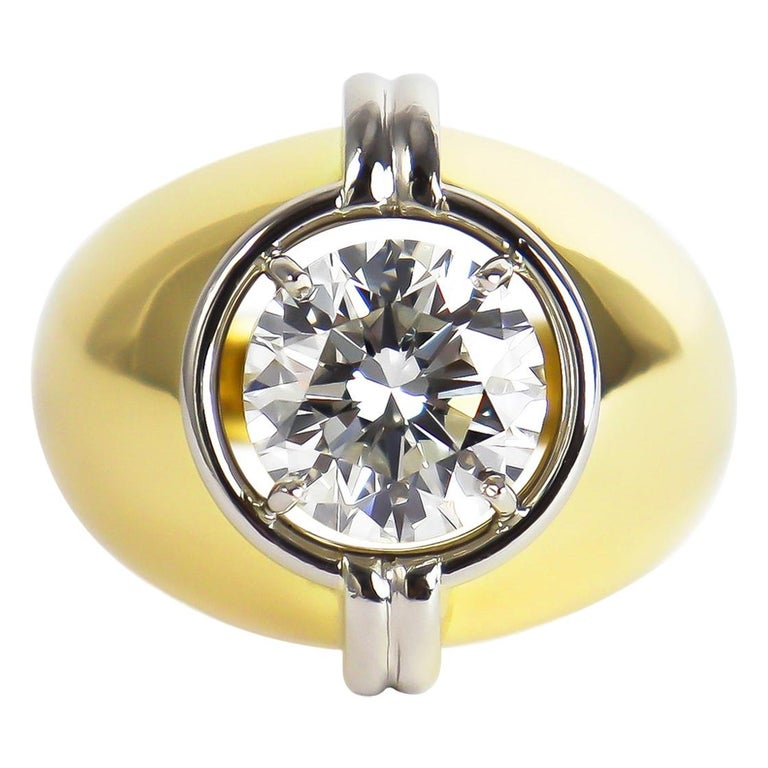Harry Winston GIA Certified 3.01 Carat Brilliant Round Solitaire Two-Tone Ring For Sale