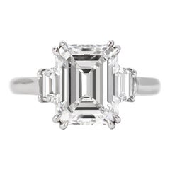 Harry Winston GIA D color Certified 3.16 Carat Emerald Cut Three-Stone Ring