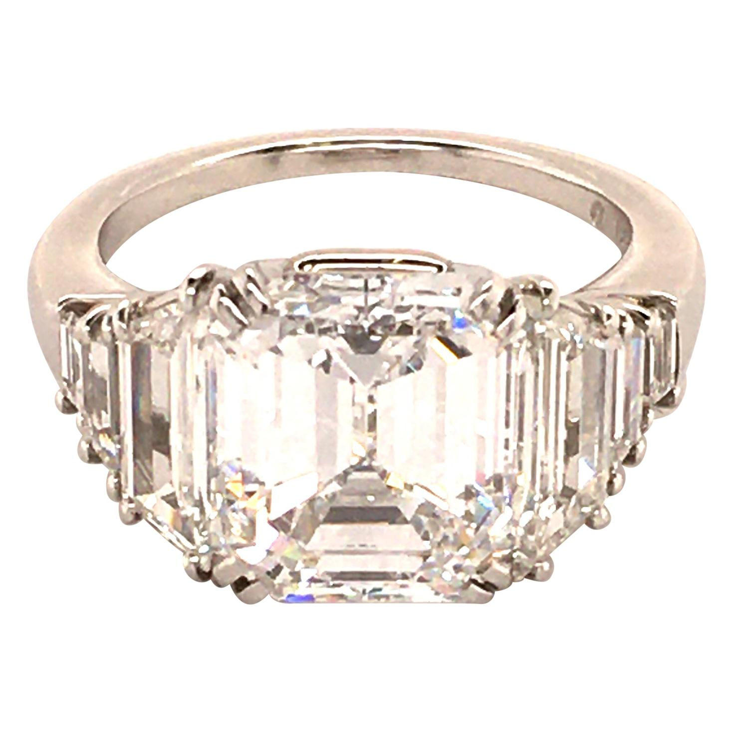 Harry Winston Gia Certified 4 63 Carat Emerald Cut Diamond Ring In Platinum 950 For Sale At 1stdibs