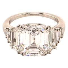 Harry Winston GIA Certified 4.63 Carat Emerald Cut Diamond Ring in Platinum 950