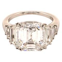 Harry Winston GIA Certified 4.63 Carat Emerald Cut Diamond Ring in Platinum 950
