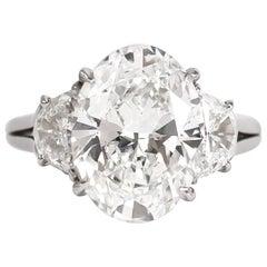Harry Winston GIA Certified Certified 5.01 Carat E VS1 Oval Cut Diamond Ring