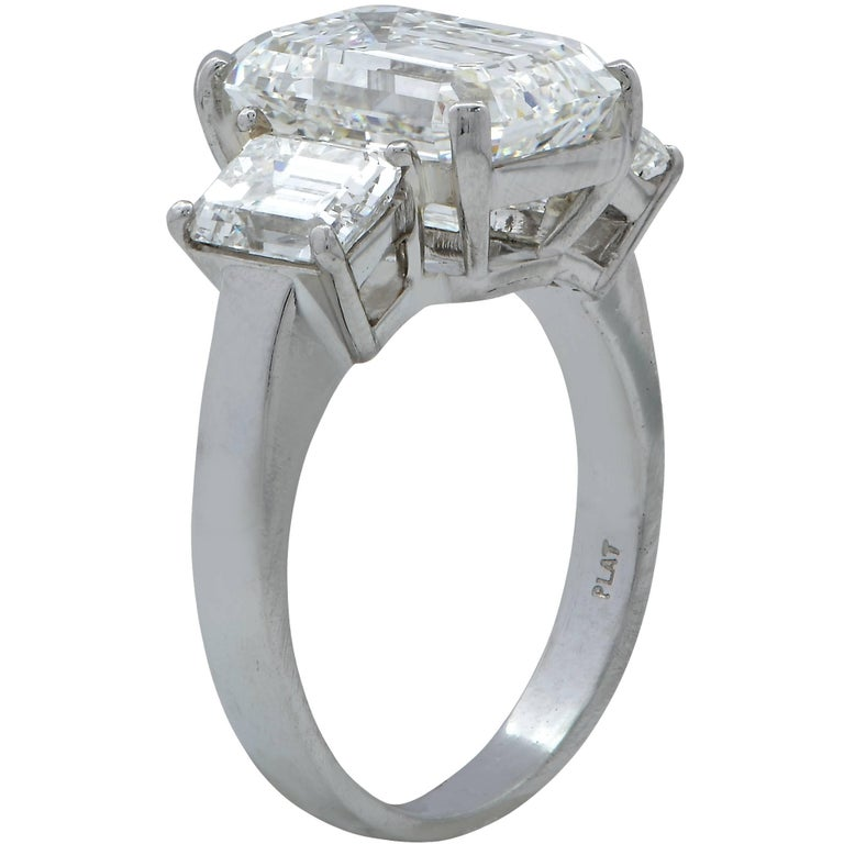 Modern Harry Winston GIA Graded 5.11 Carat Diamond Three-Stone Engagement Ring For Sale