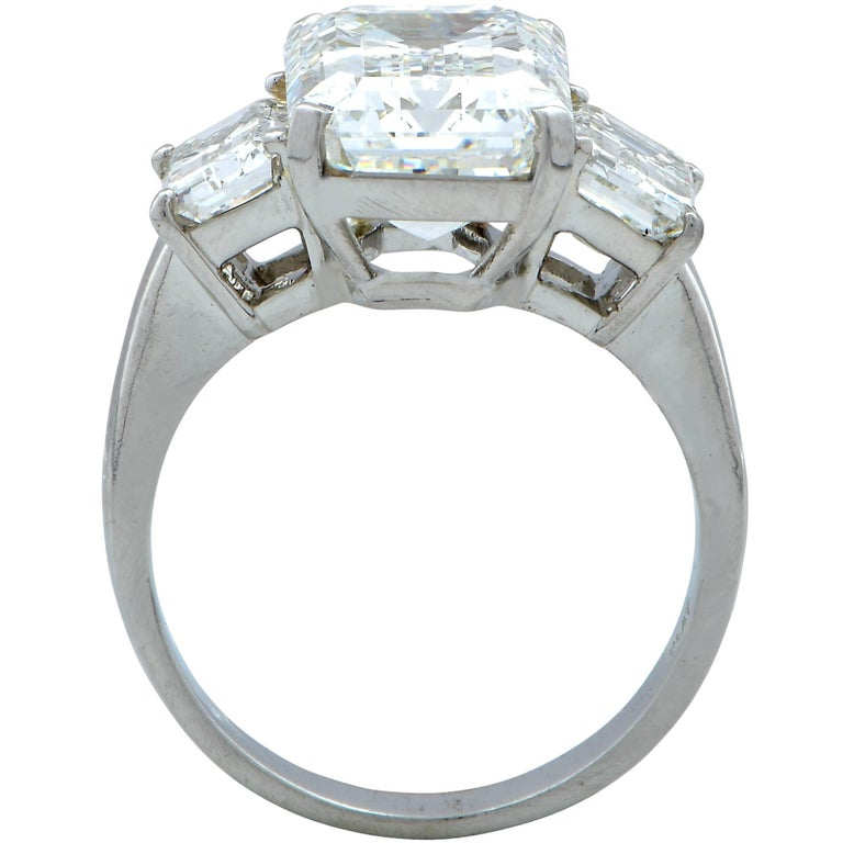 Emerald Cut Harry Winston GIA Graded 5.11 Carat Diamond Three-Stone Engagement Ring For Sale
