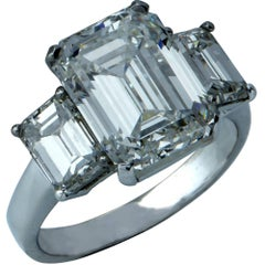 Harry Winston GIA Graded 5.11 Carat Diamond Three-Stone Engagement Ring