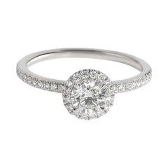 Harry Winston Halo Diamond Engagement Ring in Platinum F VS1 0.85 CTW