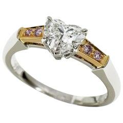 Harry Winston Heart Diamond Pink Diamond Platinum 18 Karat Gold Tryst Ring