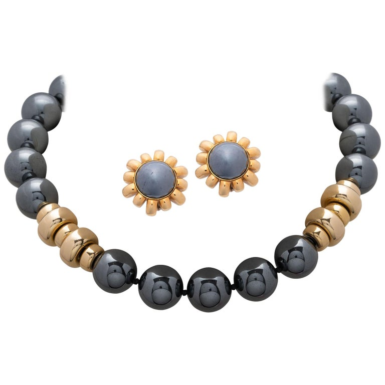 Harry Winston Hematite Gold Earring and a Gold Hematite Beads Necklace For Sale
