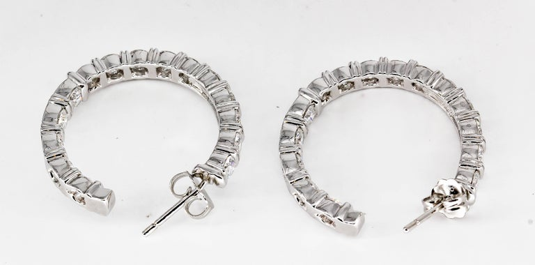Women's Harry Winston Inside Out Diamond and Platinum Hoop Earrings For Sale