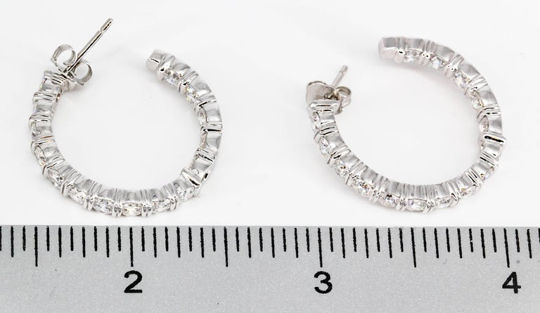 Harry Winston Inside Out Diamond and Platinum Hoop Earrings For Sale 2