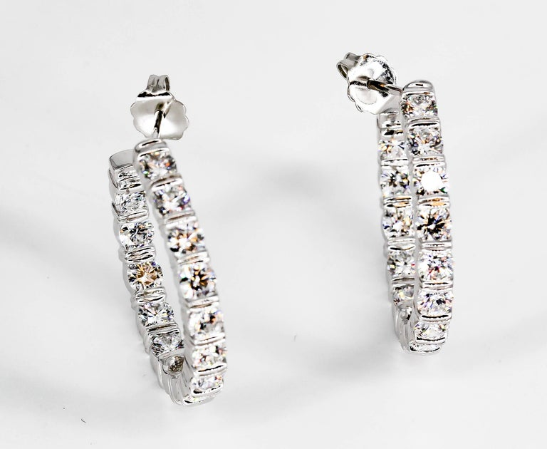 Harry Winston Inside Out Diamond and Platinum Hoop Earrings For Sale 3