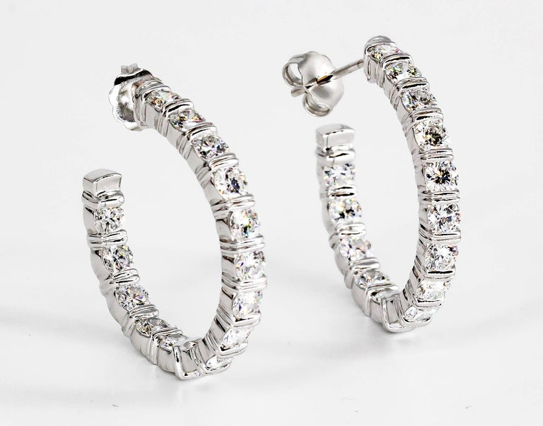 Harry Winston Inside Out Diamond and Platinum Hoop Earrings For Sale 4