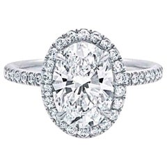 Harry Winston Inspired 1.2 Carat Oval Cut Diamond Halo Engagement Ring