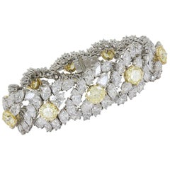 Harry Winston By Jacques Timey Yellow And White Diamond Platinum Bracelet