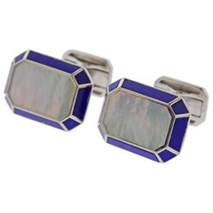Harry Winston Lapis Mother of Pearl Gold Cufflinks