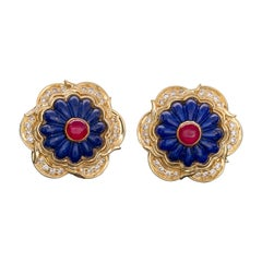 Harry Winston Lapis, Ruby and Diamond Earrings