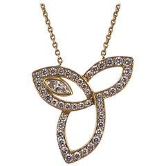 Harry Winston Lily Diamond Pendant Necklace 18 Karat Yellow Gold