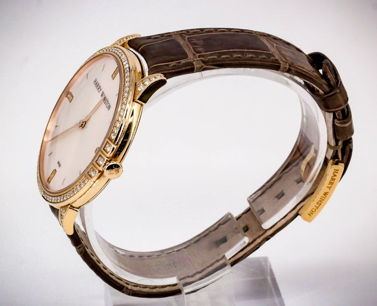 Harry Winston Rose Gold Diamond Midnight Quartz Wristwatch In Excellent Condition For Sale In New York, NY