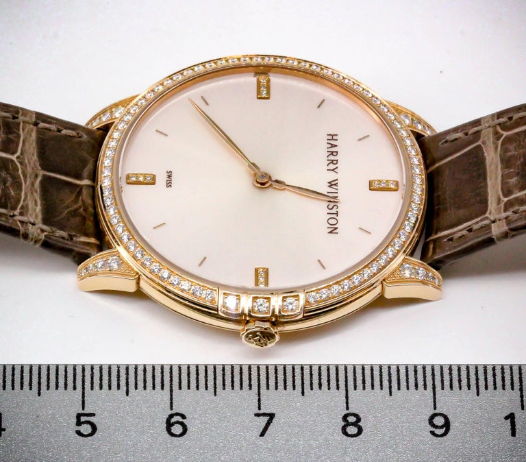 Harry Winston Rose Gold Diamond Midnight Quartz Wristwatch For Sale 3