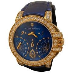 Harry Winston Ocean Biretrograde Automatic Rose Gold Diamond Ladies Watch