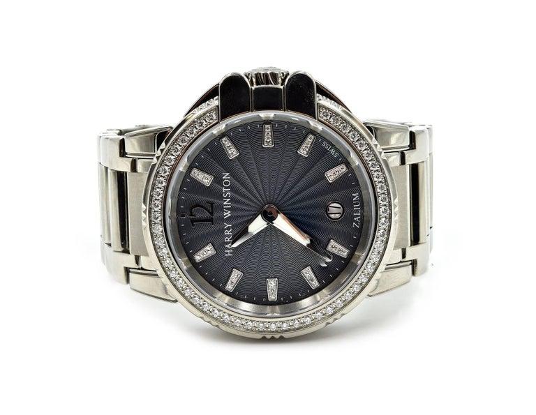 Round Cut Harry Winston Ladies Stainless Steel Diamond Ocean Sport Watch Ref 411.LQ36Z For Sale