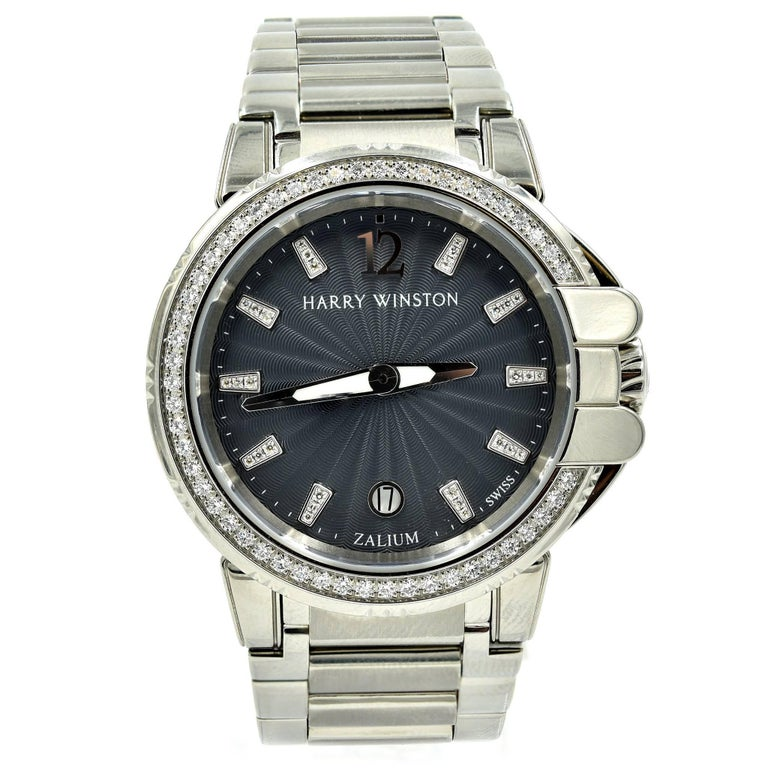 Harry Winston Ladies Stainless Steel Diamond Ocean Sport Watch Ref 411.LQ36Z For Sale