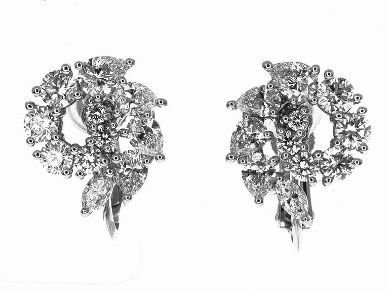 Brand: HARRY WINSTON Name: Open Cluster by Harry Winston, Small Diamond Earrings Retail Price:current model 3,153,600円(JPY) Material: 22P Marquise, Pair Shape, Round Diamond (D1.96ct),750 K18 WG                White Gold,Pt950 Platinum Comes with: