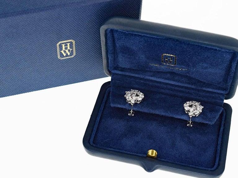 Harry Winston Open Cluster by Harry Winston Small Diamond 1.96 Carat Earrings For Sale 2