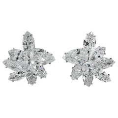 Harry Winston Pear and Marquise-Shaped Diamond Cluster Ear Clips