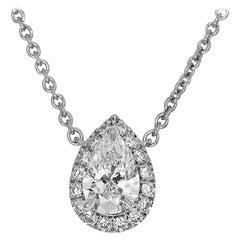 Harry Winston Pear Shaped 0.50 Carat Diamond Platinum Micropavé Pendant