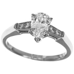 Harry Winston Pear Shaped 0.71 Carat Diamond Platinum Solitaire Tryst Ring