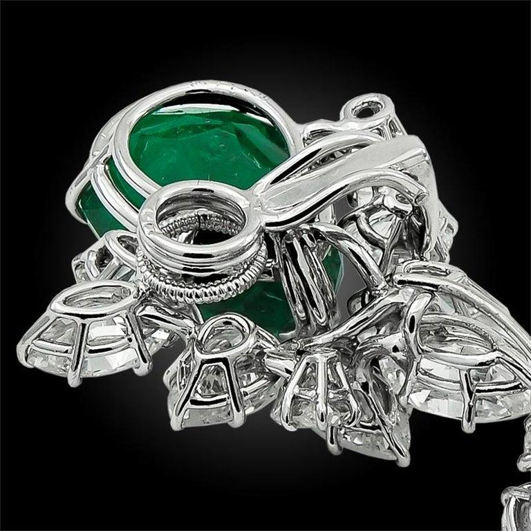 Women's Harry Winston Pear Shaped Emerald, Diamond Earrings
