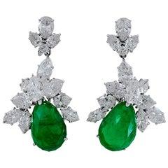 Harry Winston Pear Shaped Emerald, Diamond Earrings