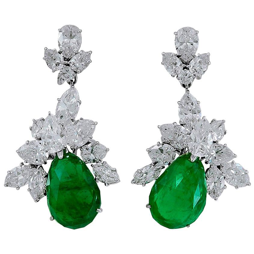 Harry Winston Emerald Diamond Cluster Platinum Detachable Earrings