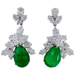 Harry Winston Pear Shaped Emerald, Diamond Earrings