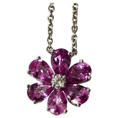 Harry Winston Pink Sapphire Diamond Platinum Forget Me Not by HW Pendant