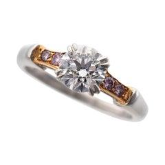 Harry Winston Platinum 18 Karat Pink Gold Round Classic Diamond Tryst Ring