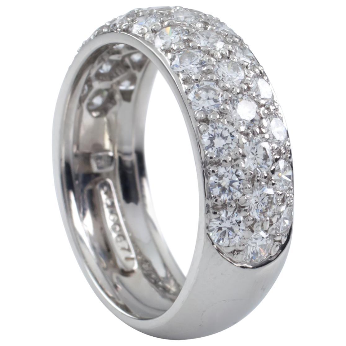 Harry Winston Platinum 3-Row Pave Diamond Wedding Band Gorgeous