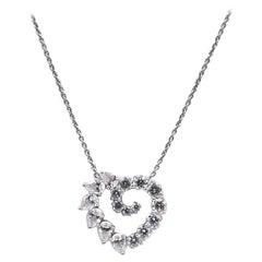 Harry Winston Platinum and Diamond Open Heart Necklace