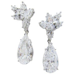 Harry Winston, Platinum and Diamond Pendant Earrings