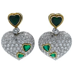 Harry Winston Platinum and Gold, Diamond Emerald Ear-Clip Earring
