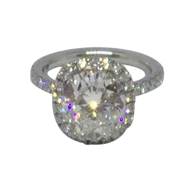 Harry Winston Platinum Cushion Cut Diamond Engagement Ring Gia 3 41 Carat For Sale At 1stdibs