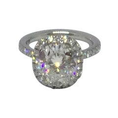 Harry Winston Platinum Cushion Cut Diamond Engagement Ring GIA 3.41 Carat