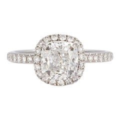 Harry Winston Platinum Cushion Cut Diamond Halo Ring 2.01 Carat F/VS2 GIA