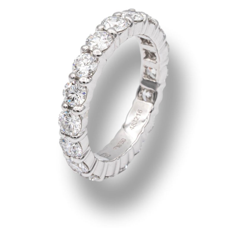 Round Cut Harry Winston Platinum Diamond Eternity Anniversary Ring 1.93 CTW