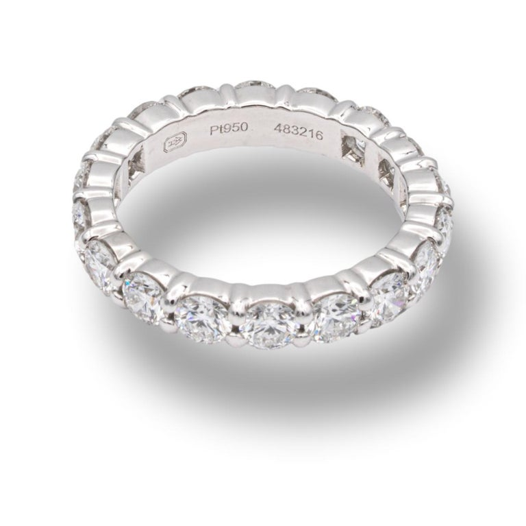 Harry Winston Platinum Diamond Eternity Anniversary Ring 1.93 CTW In Excellent Condition In New York, NY