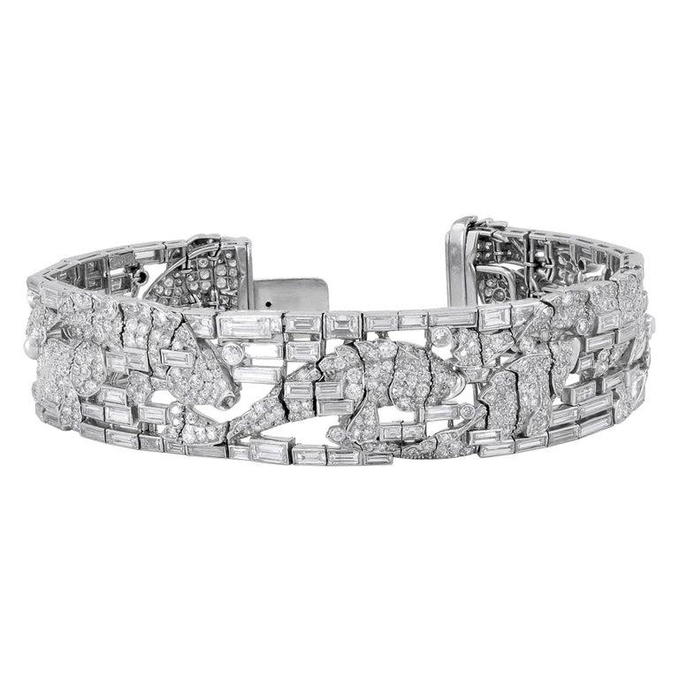 Harry Winston Platinum Diamond Fish Motif Bracelet For Sale