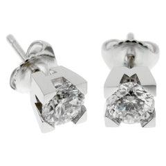 Harry Winston Platinum Diamond Stud Earrings 1.25ct