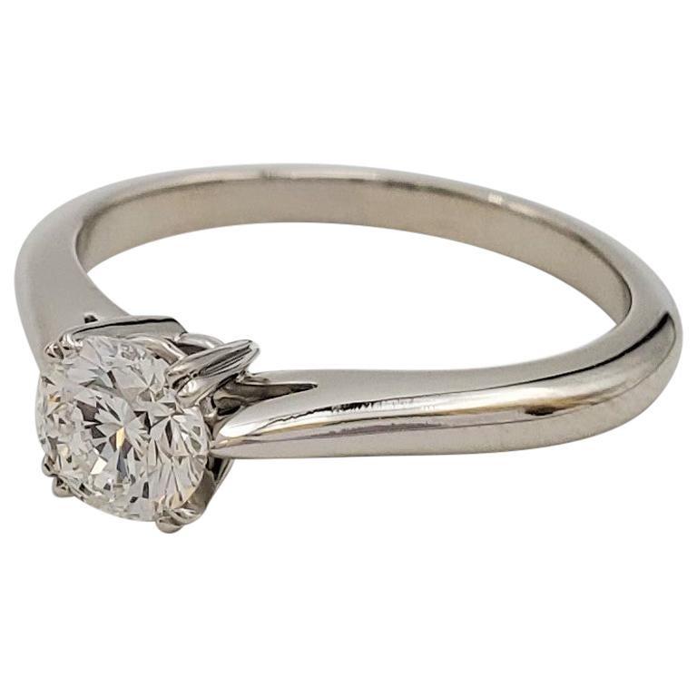Harry Winston Platinum Solitaire 0.53 Carat Diamond Ring